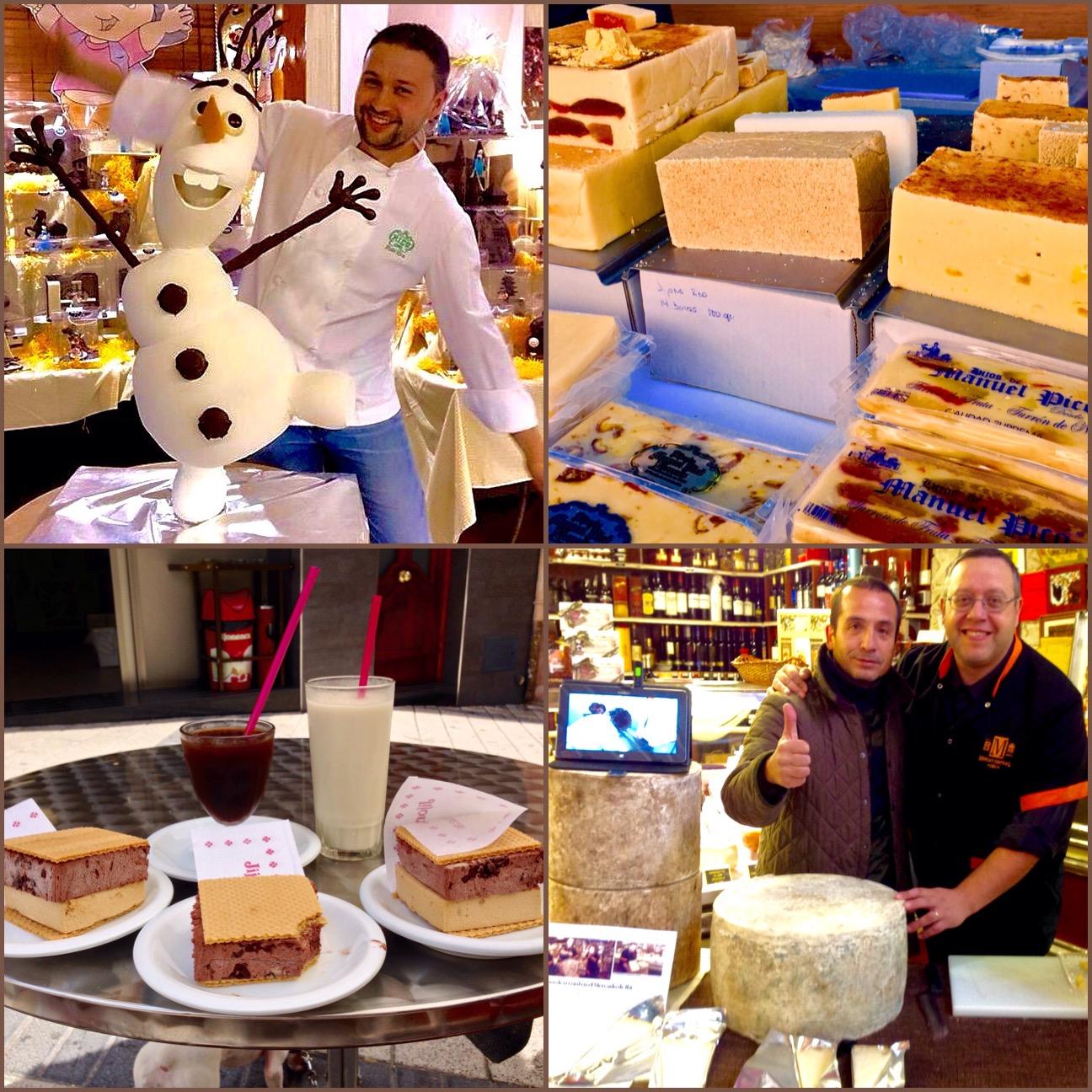 Exquisiteces típicas de Alicante. Chocolates, turrones, helados y granizados, quesos y embutidos.
