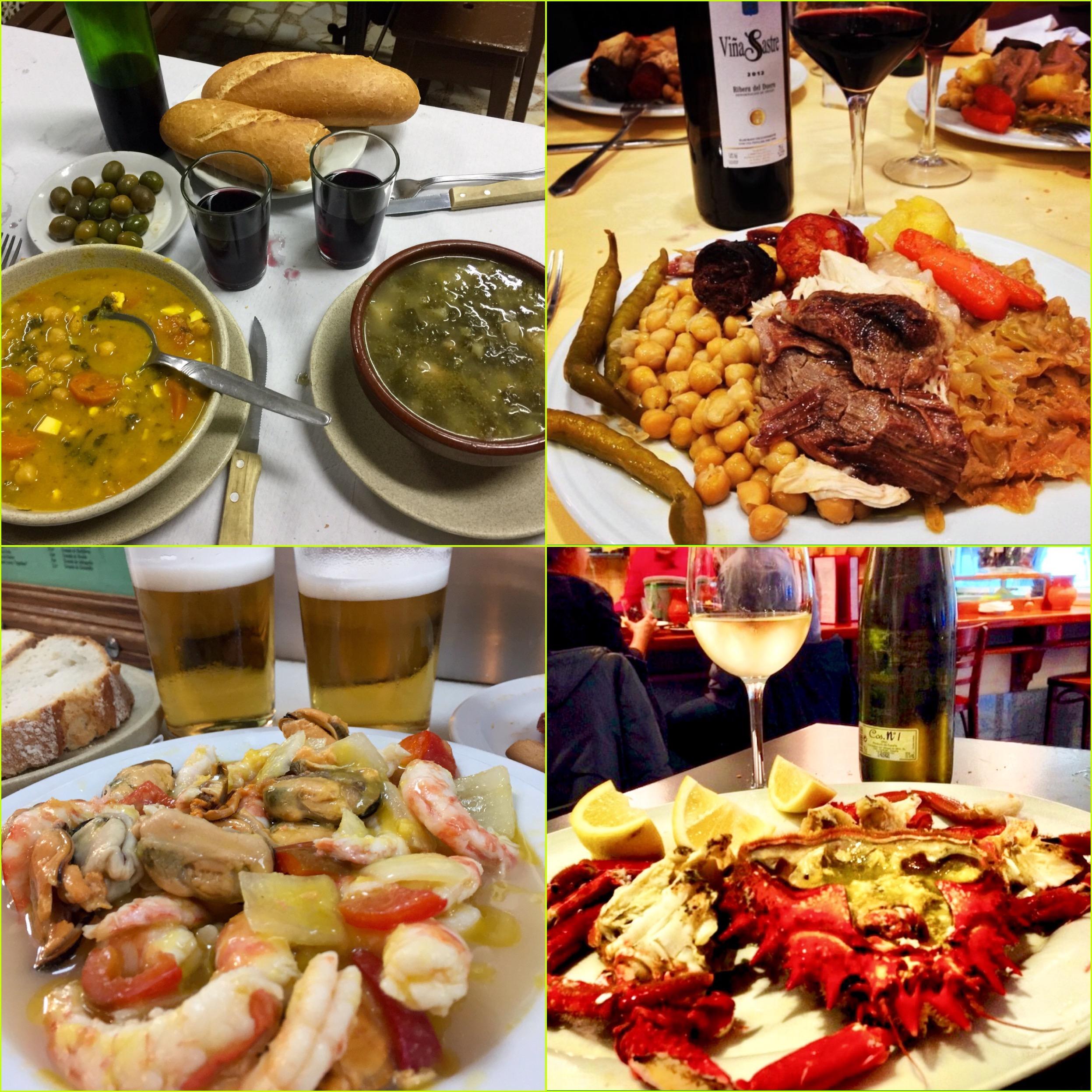 Menús en casa de comidas. Potages, caldos y el majestuoso cocido madrileño. Salpicón de marisco fresquito y centollo.