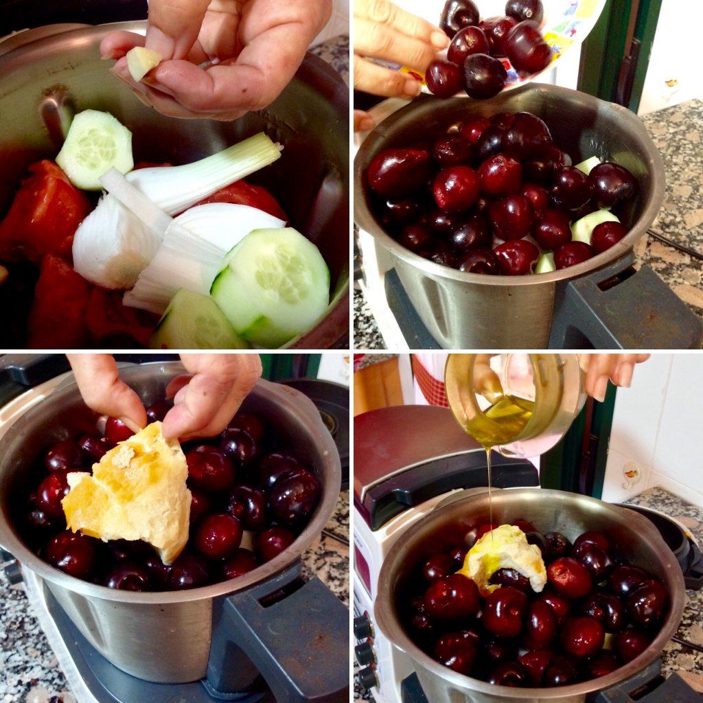 Un gazpacho exquisito y distinto de cerezas y ingredientes de primera calidad todos de Alicante.